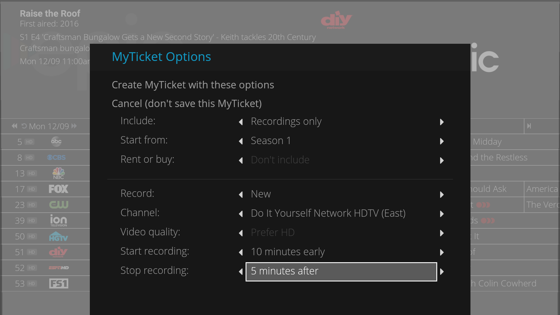 Series Recording with MyTicket